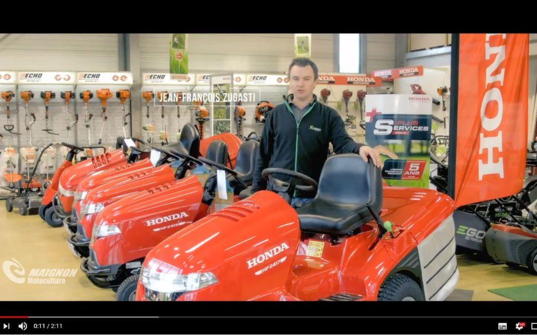 Notre choix de tracteur tondeuse autoportée : le tracteur tondeuse autoportée Honda HF2417